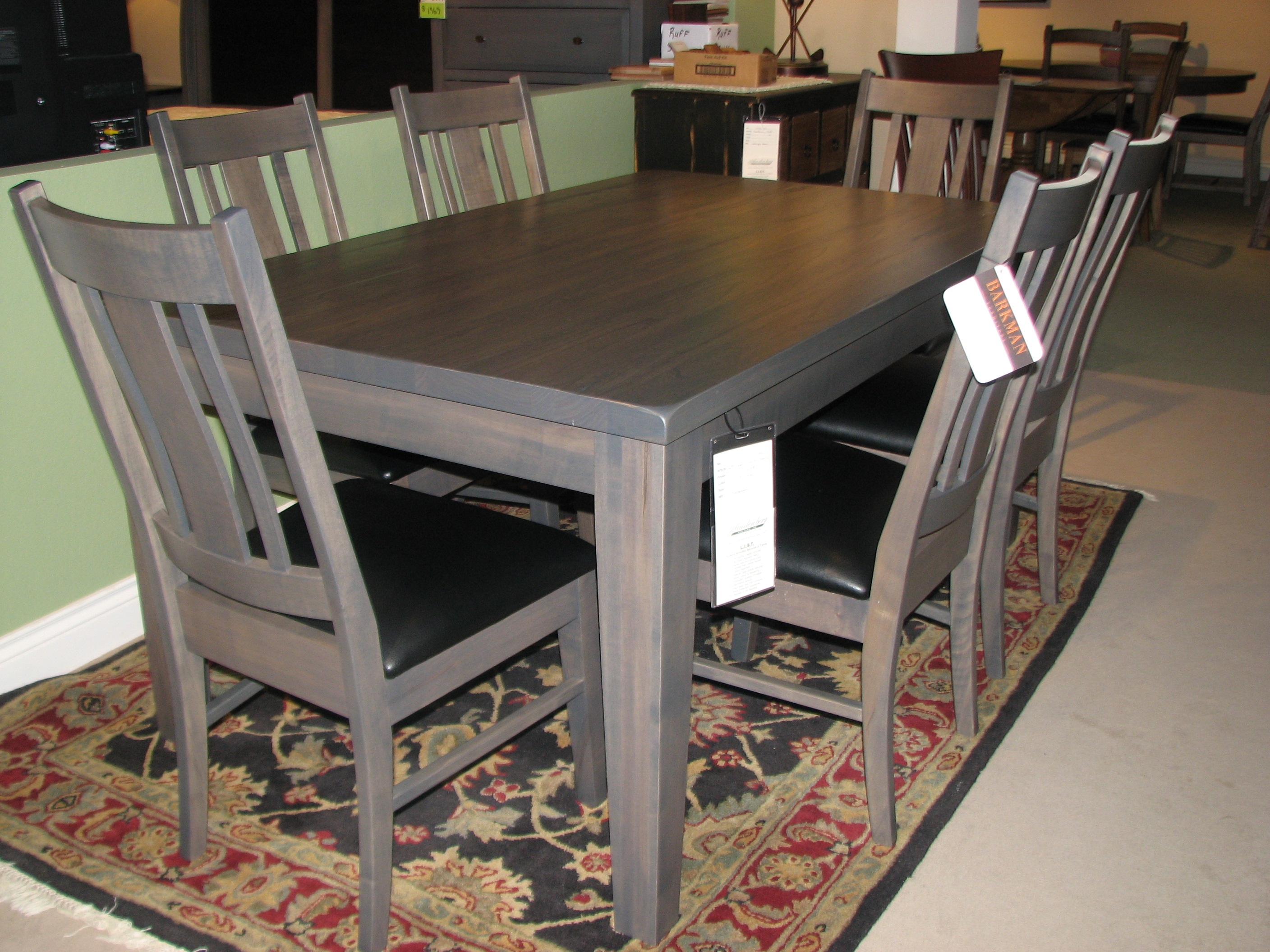 Barkman Gray Dining Table And Chairs With Leather Upholstered Seats
