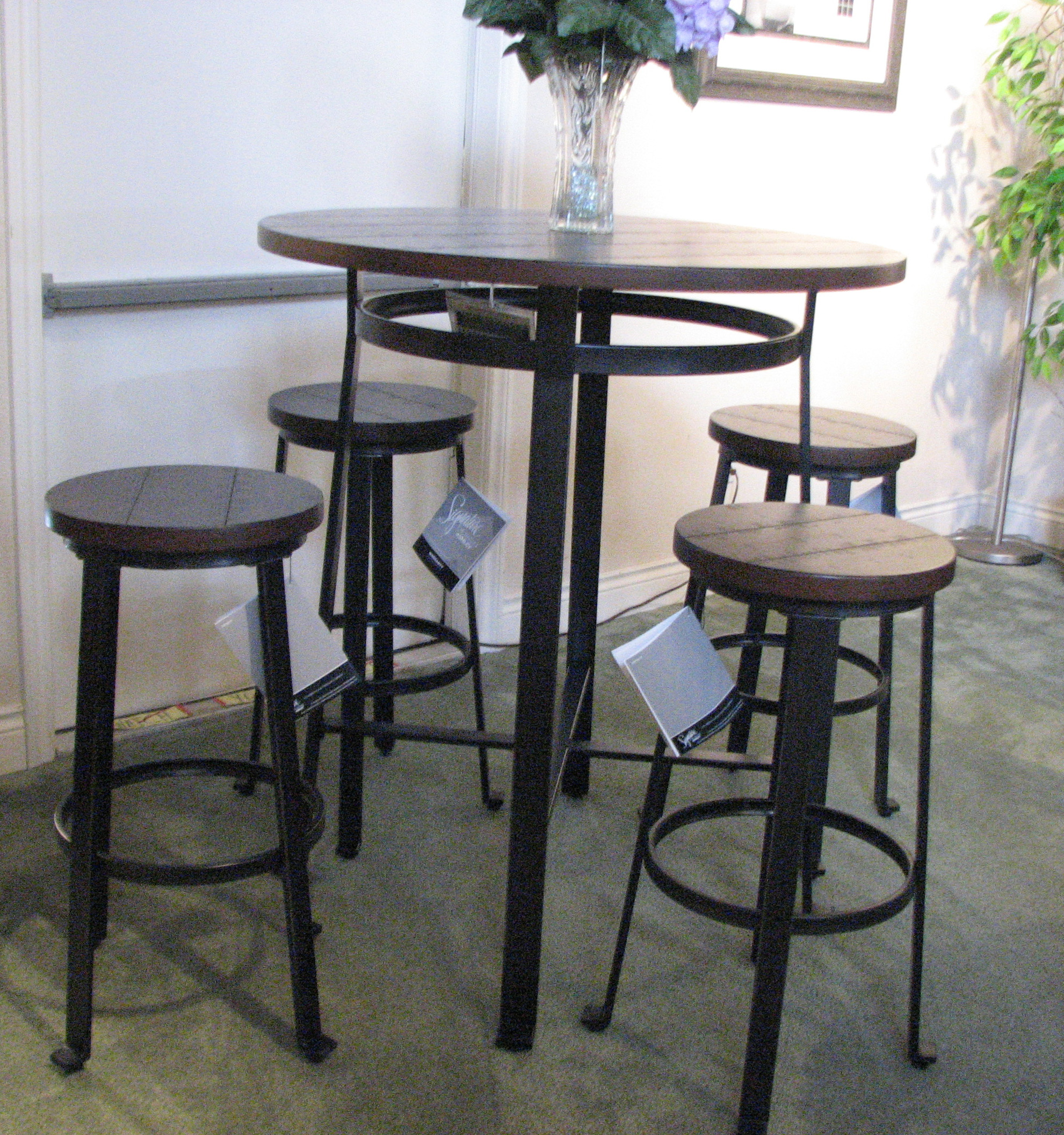 Beau Ashley Metal And Wood High Pub Table And Stools