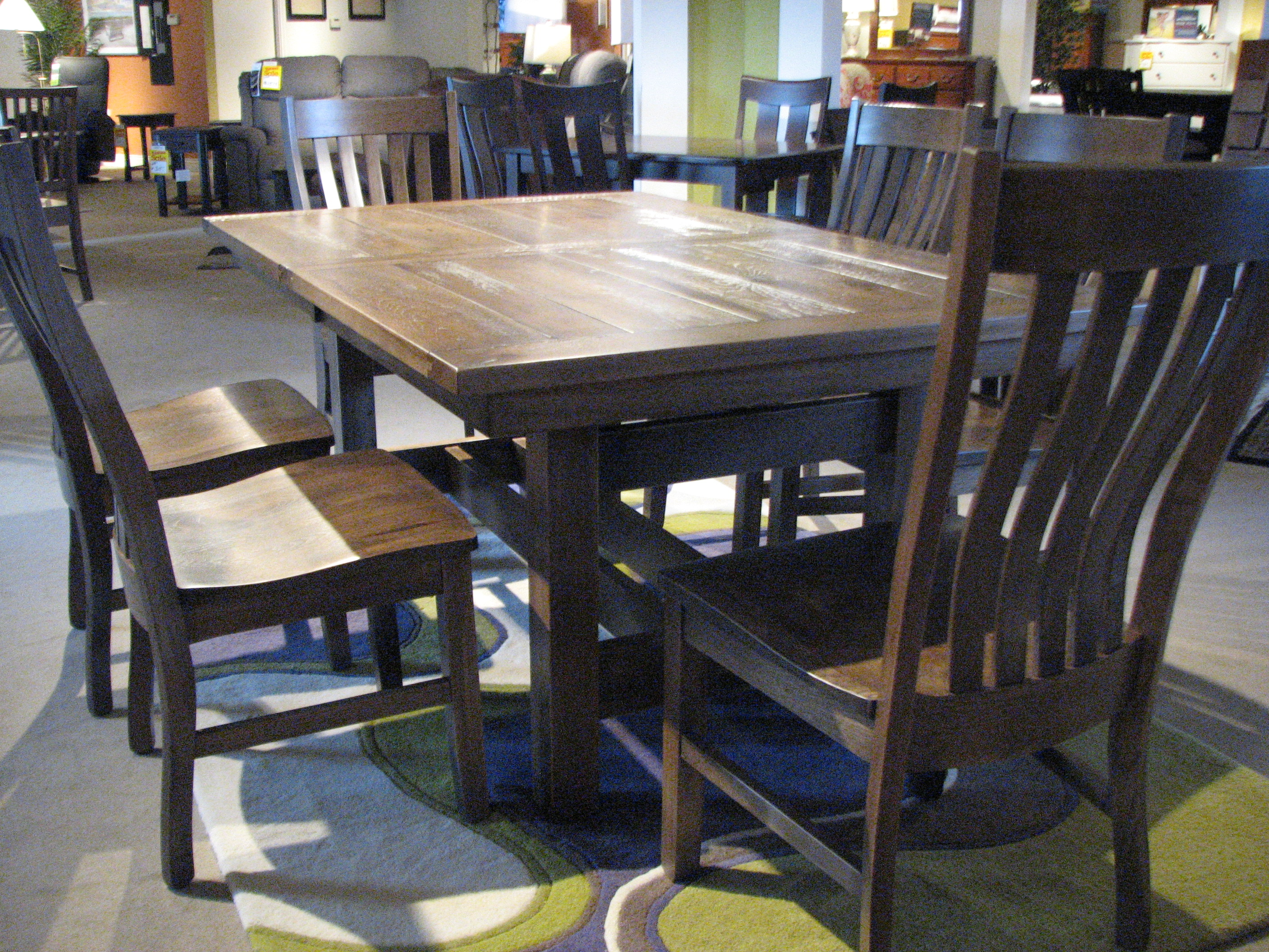 All Wood Dining Room Table New Trailway Rustic Hickory Dining set with table top details.
