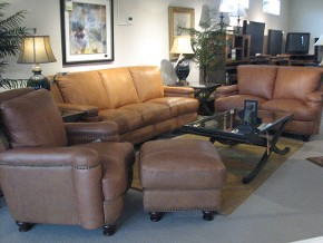 Leather Italia Sofa, Loveseat, Chair and Ottoman
