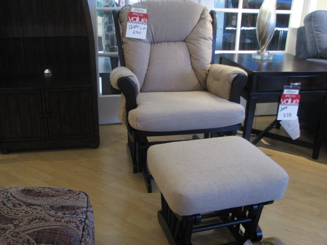 Upholstered Glider Rocker and Matching Gliding Ottoman from Best