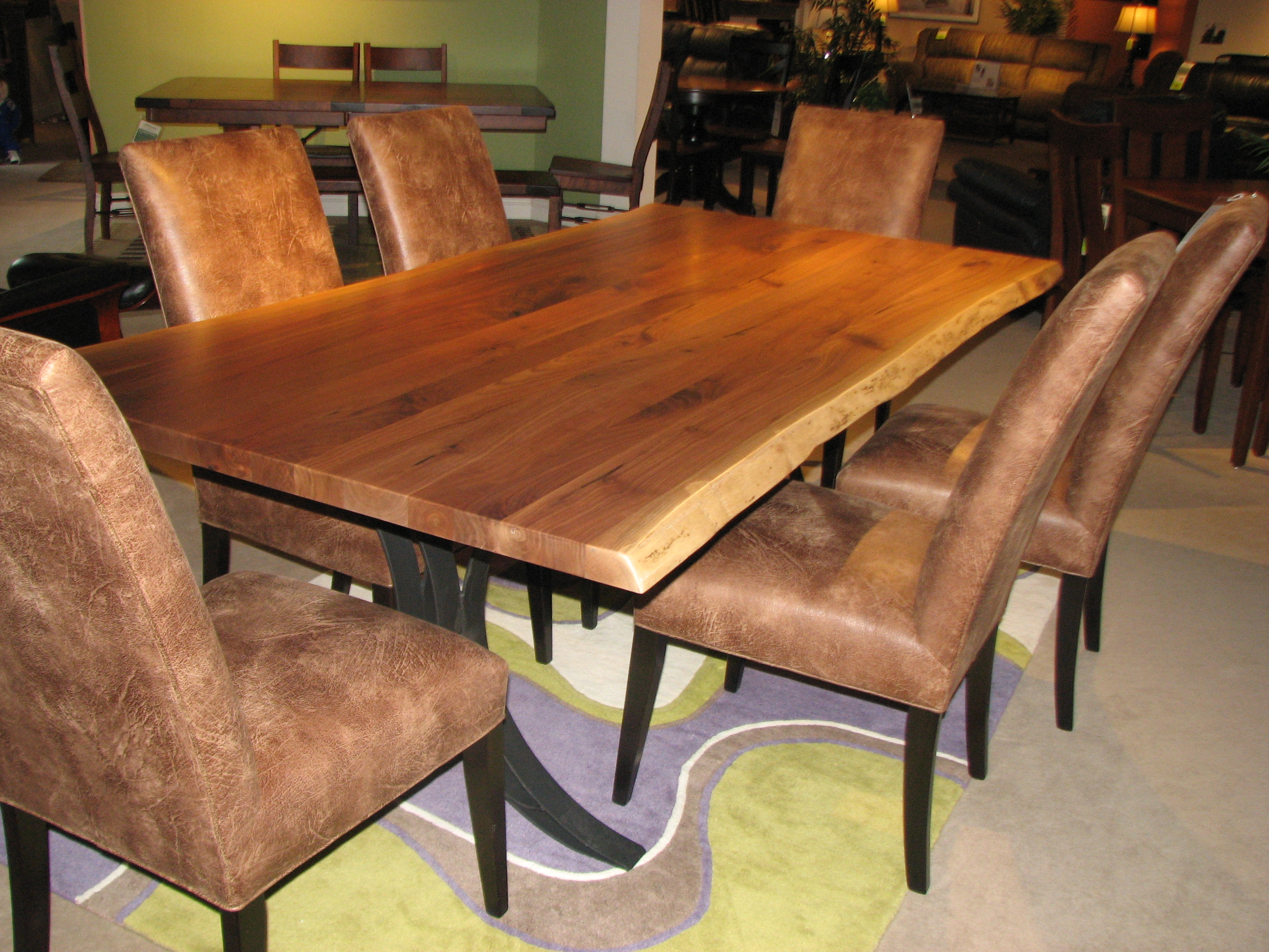 Walnut Live Edge Amish Dining Table with Upholstered Chairs by Barkman