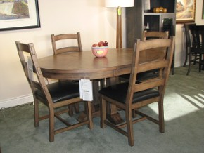 Rustic Progressive Table and Chairs with Upholstered Seats