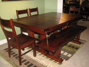 Bayfield Amish Table with Chairs and Bench in Rustic Cherry