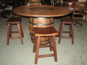 Amish Made Pub Table Set Using a Real Jack Daniels Whiskey Barrel