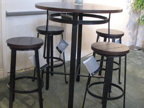 Ashley Metal and Wood High Pub Table and Stools