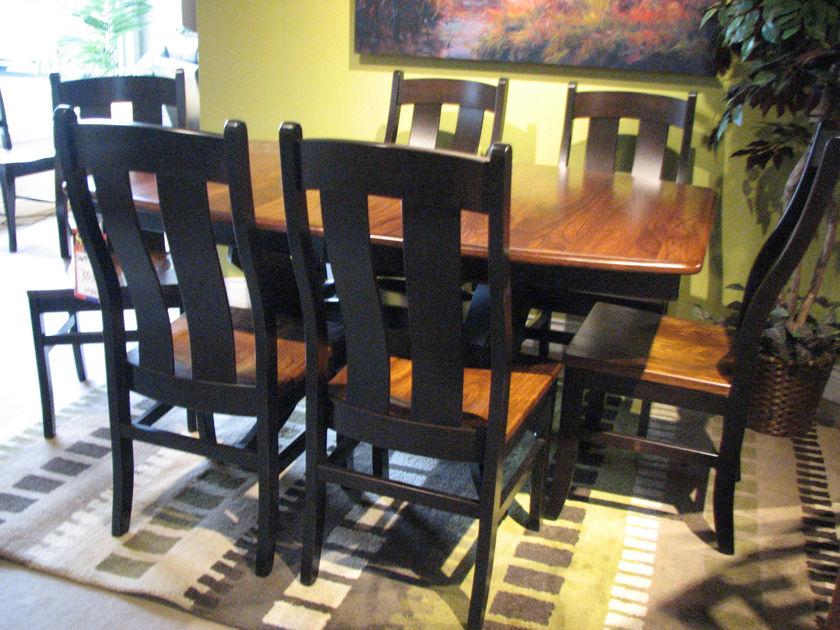 Beautiful new Amish Stowen Dining set in Brown Maple and Grey Elm.