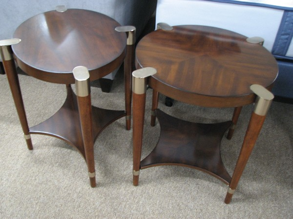 Two Bassett Mirror Side Tables with Metal Caps