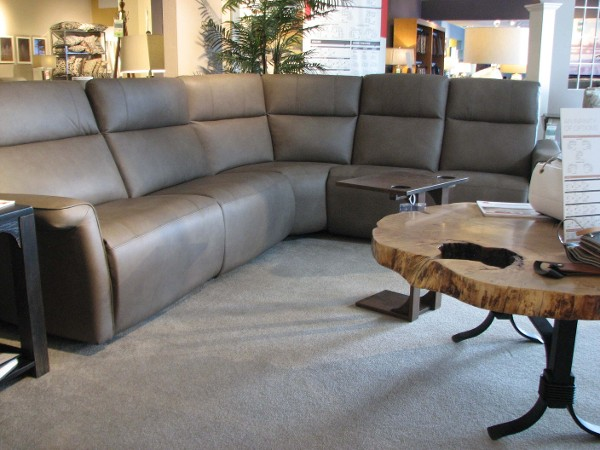 Elran Leather Reclining Sectional