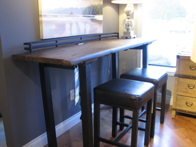 Progressive Recovered Wood Bar Table with Power Port and Stools