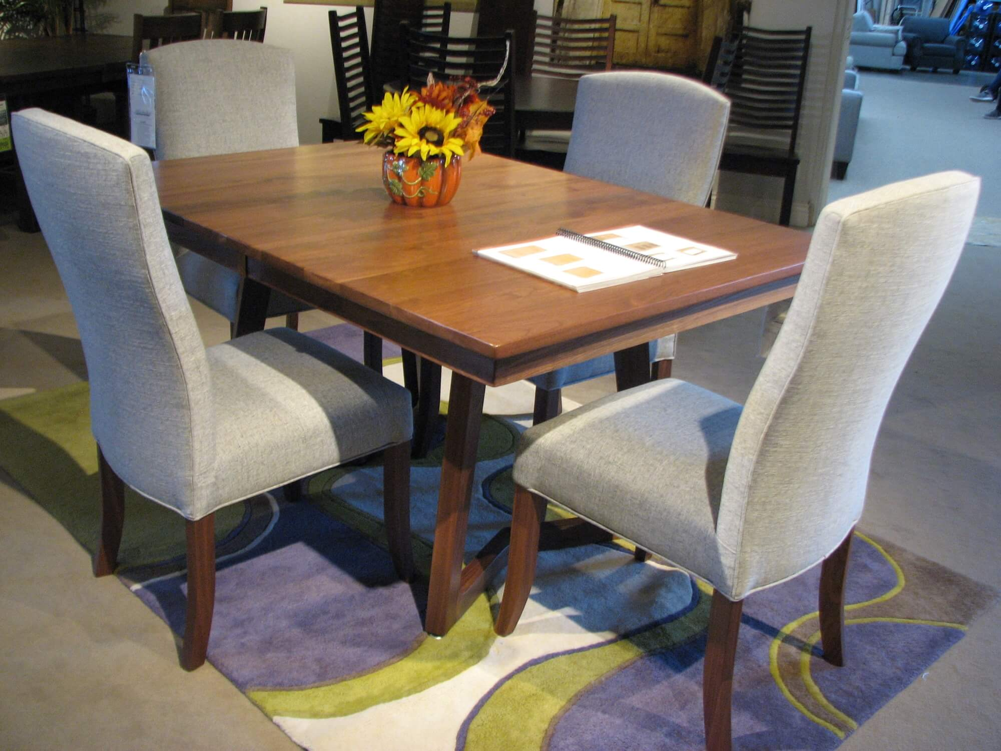 Country View Solid Walnut Dining Table with Hickory Lane Upholstered Chairs