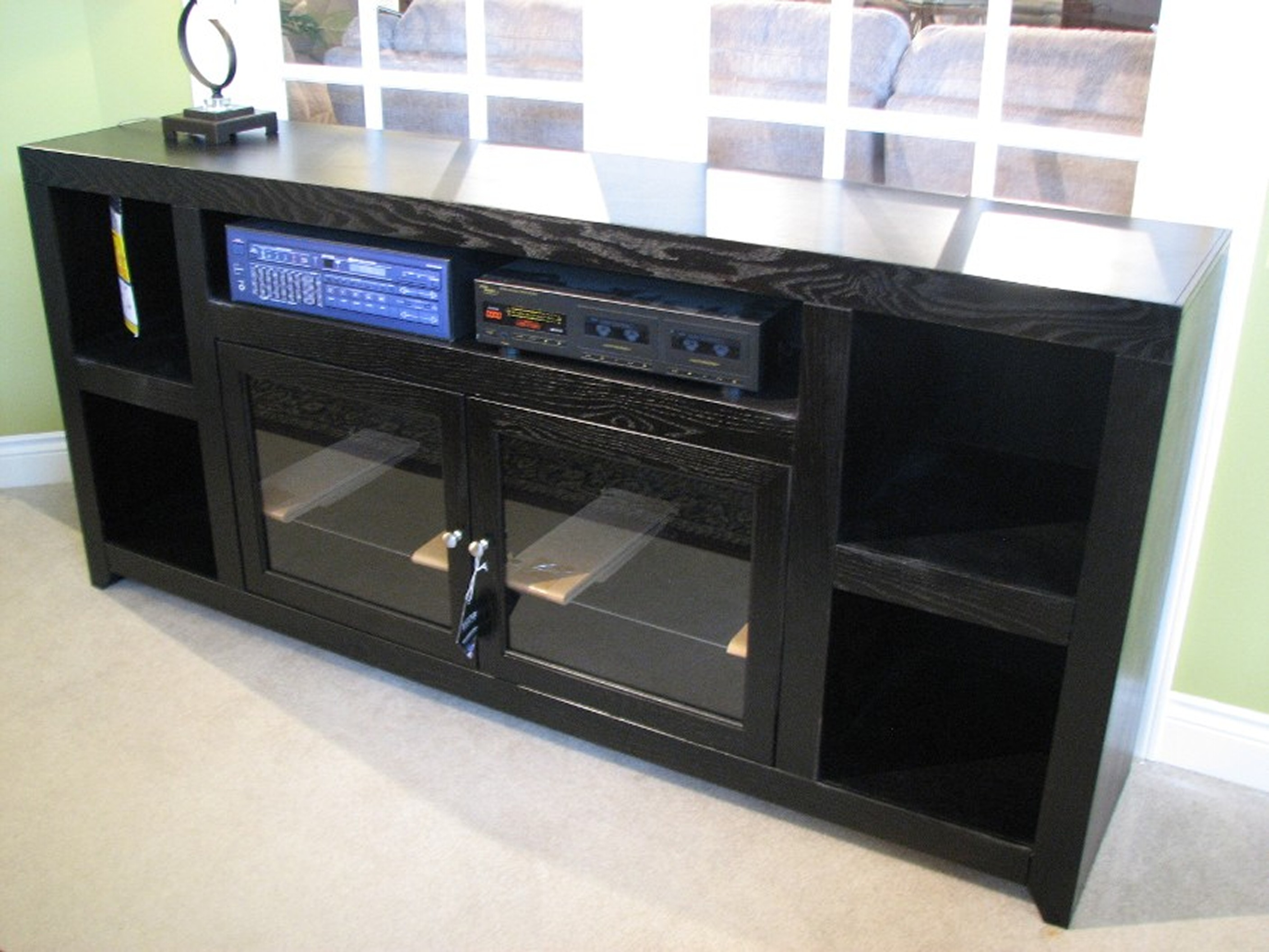 Legends Entertainment Center with Glass Doors and Storage Compartments