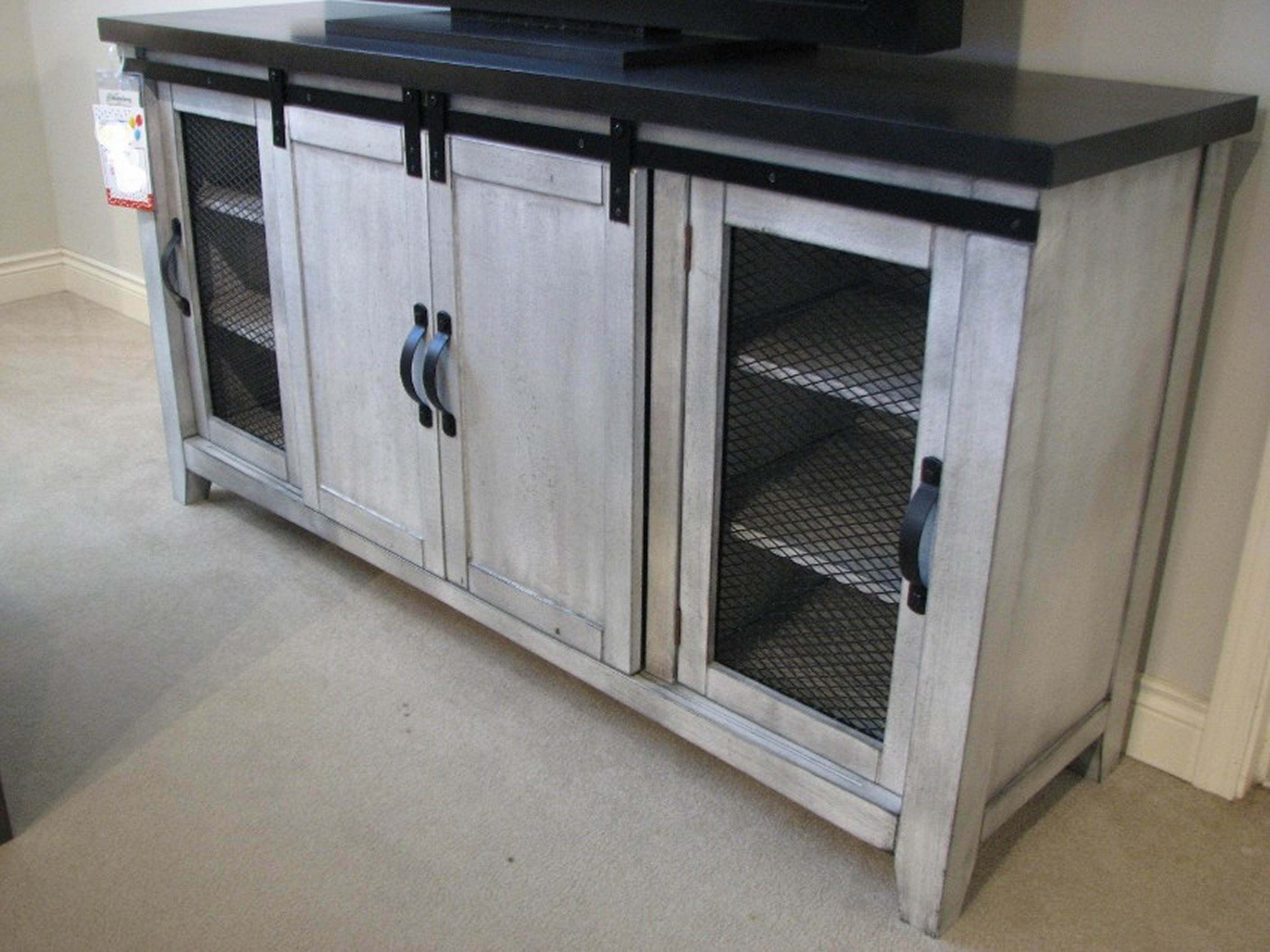John Thomas Gunpowder Charcoal Entertainment Center with Sliding Barn Doors