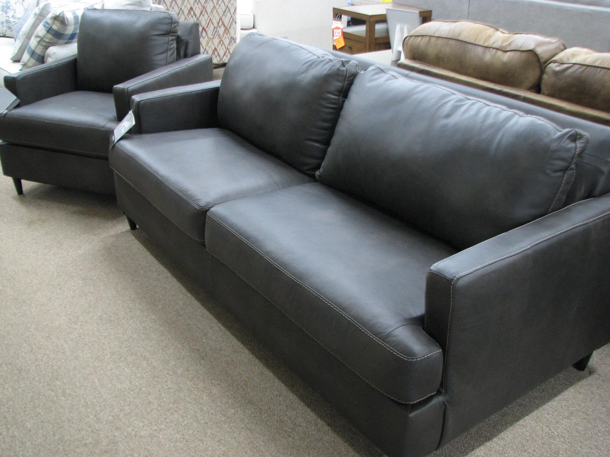 Ashley Charcoal Leather/Vinyl Sofa and Chair