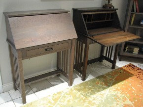 Two Carlisle Rustic Cherry Secretary Drop-Leaf Desks