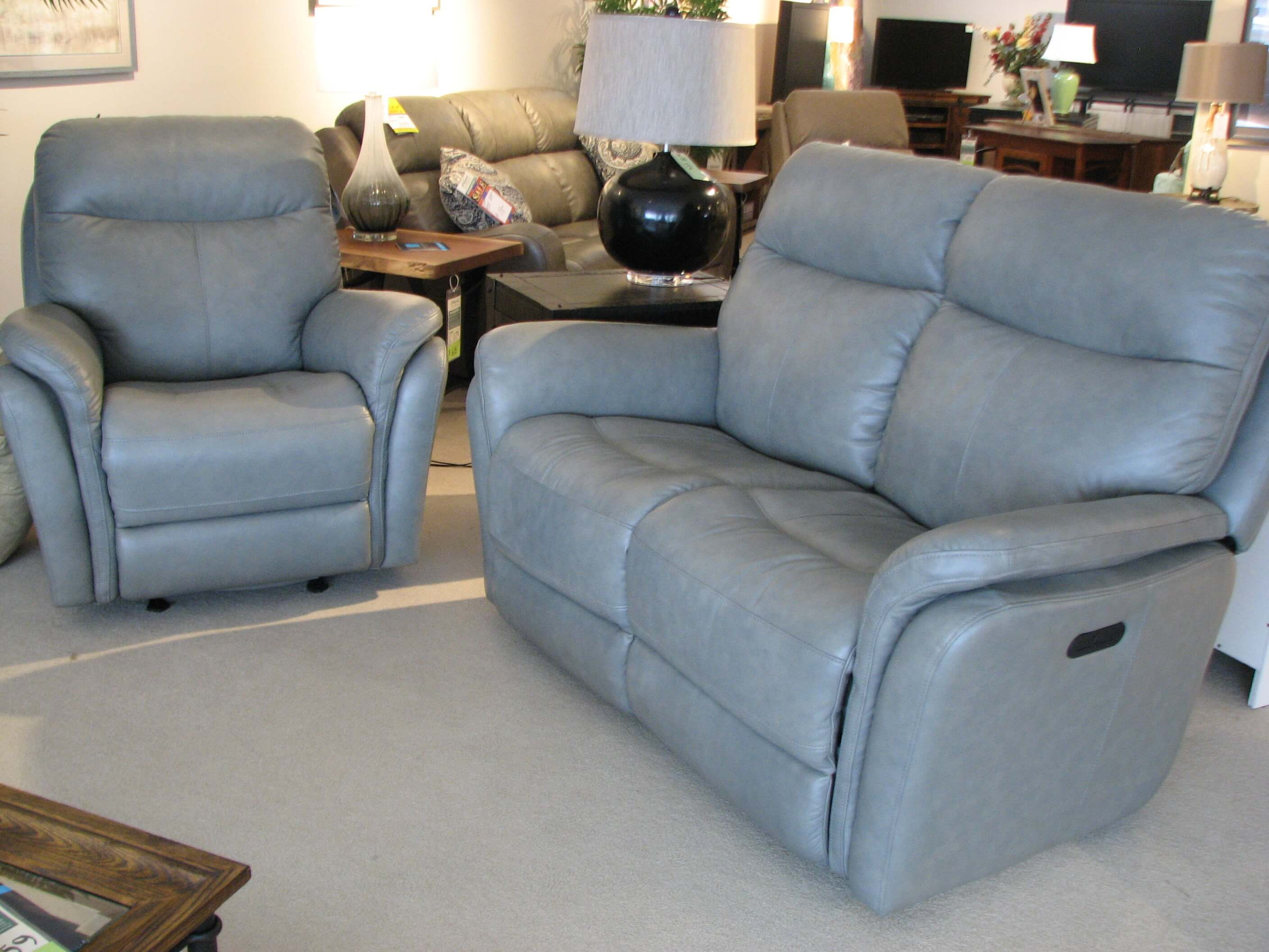 Flexsteel Grey Leather Power Reclining Loveseat and Chair